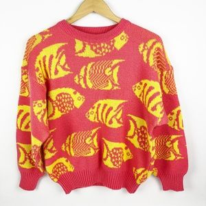 Vintage 80's 90's Pink Yellow Fish Sweater